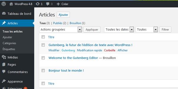 Extension Gutenberg WordPress - La liste des articles