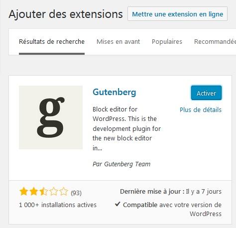Extension gutenberg WordPress - Ajout de l'extension