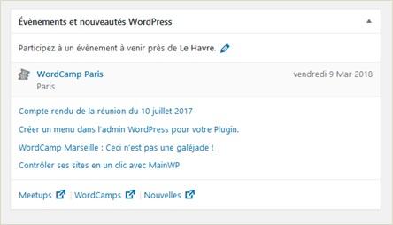 Wordpress 4.8 Le widget evenements