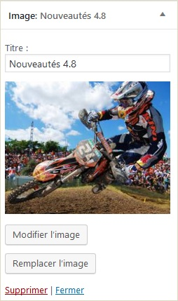 Wordpress 4.8 Le widget image