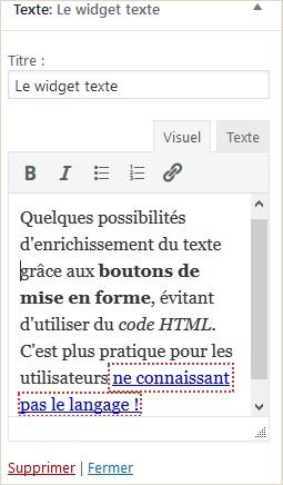 Wordpress 4.8 Le widget texte riche